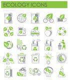 Iconos de la ecología verdes y sistema gris en el fondo blanco para el gráfico y el diseño web, muestra simple moderna del vector ilustración del vector