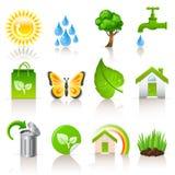 Iconos de la ecología Imagen de archivo libre de regalías
