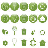 Iconos de la ecología fijados - vector Imágenes de archivo libres de regalías