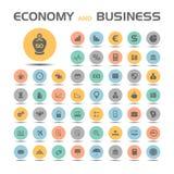 Iconos de la economía y del negocio fijados stock de ilustración