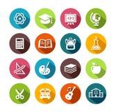Iconos de la educación en diseño plano Imágenes de archivo libres de regalías