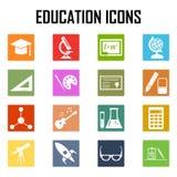 Iconos de la educación fijados en blanco Ilustración del Vector