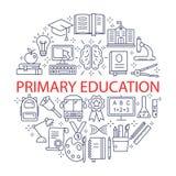 Iconos de la educación primaria fijados libre illustration