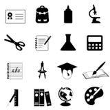 Iconos de la educación y de la escuela Fotografía de archivo libre de regalías