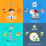 Iconos de la ejecución de una hipoteca del préstamo fijados libre illustration
