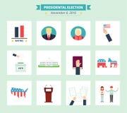 Iconos de la elección presidencial de los E.E.U.U. fijados Símbolos del concepto del voto en estilo plano Fotos de archivo