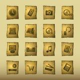 Iconos de la electrónica casera del papiro Fotos de archivo libres de regalías