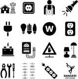 Iconos de la electricidad ilustración del vector