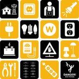 Iconos de la electricidad Imágenes de archivo libres de regalías
