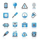 Iconos de la electricidad, del poder y de la energía stock de ilustración