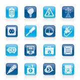 Iconos de la electricidad, del poder y de la energía Imagenes de archivo