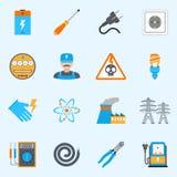 Iconos de la electricidad fijados Foto de archivo