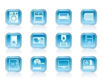 Iconos de la electrónica casera y del equipo Foto de archivo libre de regalías