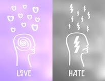 Iconos de la emoción del amor y del odio en fondo nublado Concepto del humor del vector Fotografía de archivo