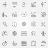 Iconos de la energía alternativa ilustración del vector