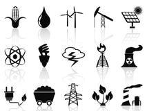 Iconos de la energía alternativa fijados ilustración del vector