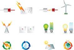 Iconos de la energía eléctrica Fotografía de archivo