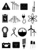 Iconos de la energía y de la electricidad fijados ilustración del vector
