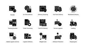 Iconos de la entrega de la logística del hippy Fotografía de archivo libre de regalías