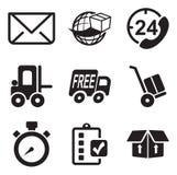 Iconos de la entrega o del envío Imagen de archivo libre de regalías