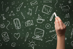 Iconos de la escritura de la mano en la pizarra Imágenes de archivo libres de regalías
