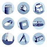 Iconos de la escuela azules Imagenes de archivo