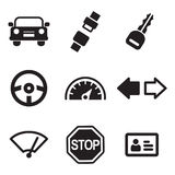 Iconos de la escuela de conducción Imagenes de archivo