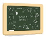 Iconos de la escuela en la pizarra Fotografía de archivo libre de regalías