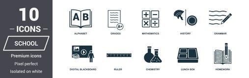 iconos de la escuela fijados Colección superior del símbolo de la calidad El icono de la escuela fijó elementos simples Listo par libre illustration
