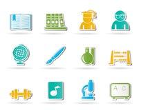 Iconos de la escuela y de la educación Foto de archivo libre de regalías