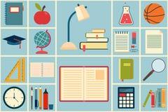 Iconos de la escuela y de la educación fijados Foto de archivo libre de regalías