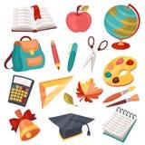 Iconos de la escuela y de la educación, símbolos, objetos fijados Fotografía de archivo libre de regalías