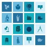 Iconos de la escuela y de la educación Fotografía de archivo libre de regalías