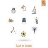 Iconos de la escuela y de la educación Imágenes de archivo libres de regalías