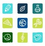 Iconos de la escuela y de la educación fijados y elementos. Imágenes de archivo libres de regalías