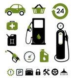 Iconos de la estación de gasolina fijados Fotos de archivo