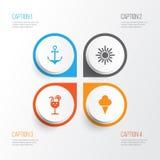 Iconos de la estación fijados Colección de limonada, armadura, Sunny And Other Elements También incluye símbolos tal como la crem libre illustration