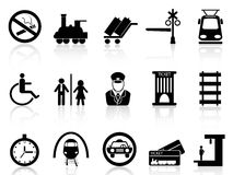 Iconos de la estación y del servicio de tren Imagenes de archivo