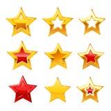 Iconos de la estrella del vector en el fondo blanco Imagenes de archivo