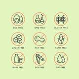 Iconos de la etiqueta de advertencia Alergénicos gluten, lactosa, soja, maíz, diario, leche, azúcar, grasa del transporte Símbolo stock de ilustración