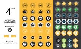 Iconos de la etiqueta de la nutrición Foto de archivo libre de regalías