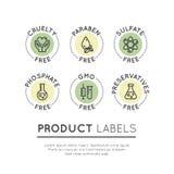 Iconos de la etiqueta de Logo Set Badge Ingredient Warning Foto de archivo libre de regalías