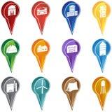 Iconos de la etiqueta de plástico del edificio Foto de archivo