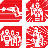 Iconos de la etiqueta del laser Imágenes de archivo libres de regalías