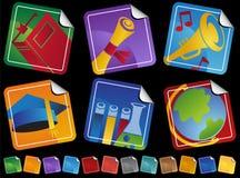 Iconos de la etiqueta engomada de la educación stock de ilustración