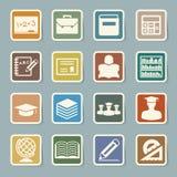 Iconos de la etiqueta engomada de la educación fijados. Imágenes de archivo libres de regalías