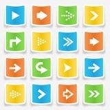 Iconos de la etiqueta engomada de la flecha Fotografía de archivo