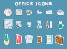 Iconos de la etiqueta engomada de la oficina de negocios fijados libre illustration