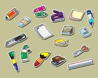 Iconos de la etiqueta engomada de los efectos de escritorio de la oficina Fotografía de archivo libre de regalías