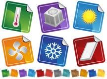 Iconos de la etiqueta engomada del aire acondicionado Fotos de archivo